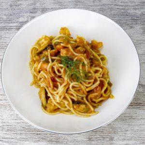 Spaghetti con mejillones y gambas